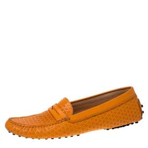 Tod's Orange Lasercut Leather Gommino Driving Loafers Size 39.5