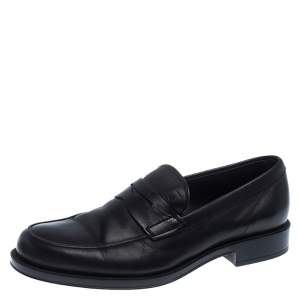Tod's Black Leather Penny Loafers 39.5