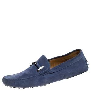Tod's Blue Suede Bit Loafers Size 44.5