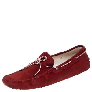 Tod's Red Suede Leather Bow Slip On Loafers Size 45.5