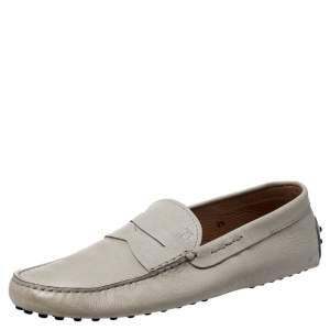 Tod's Off-White Textured Leather Gommini Moccasin Driving Loafers Size 42.5