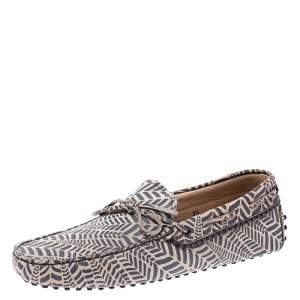 Tod's Beige and Grey Printed Leather Bow Loafers Size 42.5