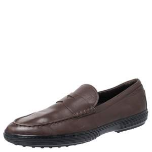 Tod's Brown Leather Slip On Penny Loafers Size 44