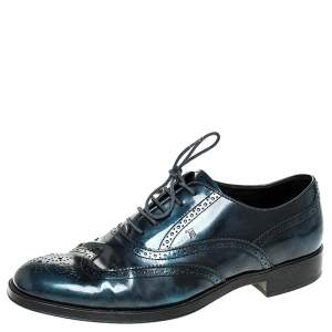 Tod's Two Tone Blue/Black Leather Lace Up Brogue Oxfords Size 41
