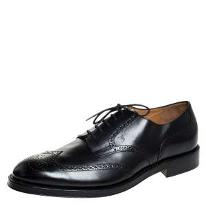 Tod's Black Brogue Leather Lace Up Oxfords Size 47