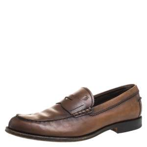 Tod's Brown Leather Penny Loafers Size 42.5