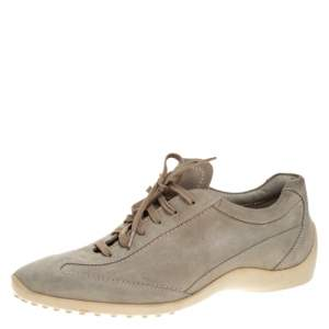 Tod's Pale Green Suede Lace Up Sneakers Size 42