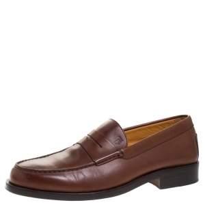 حذاء لوفرز تودز مزين بسير بيني جلد بني مقاس 39.5