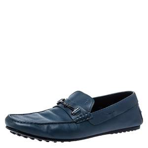 Tod's Blue Leather Double T Loafers Size 42.5