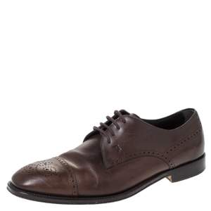 Tod's Brown Brogue Leather Lace Up Derby Size 40