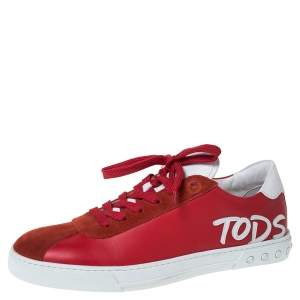 Tod's Red Leather And Suede Trim Low Top Sneakers Size 41.5