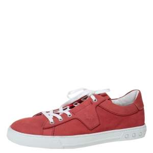 Tod's By Ferrari Red Leather Low Top Sneakers Size 43