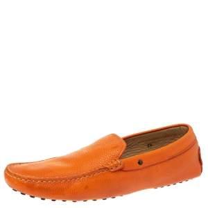 Tod's Orange Leather Slip On Loafers Size 44