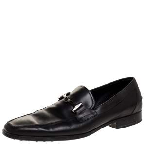 Tod's Black Leather Double T Slip On Loafers Size 44.5