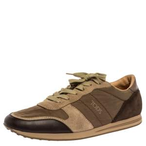 Tod's Brown/Green Nylon, Leather and Suede Low Top Sneakers Size 44