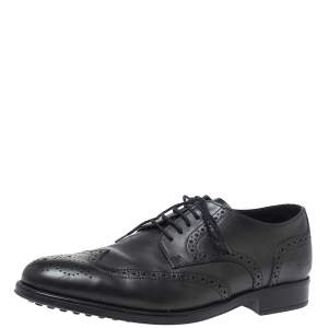 Tod's Black Brogue Leather Lace Up Derby Size 40