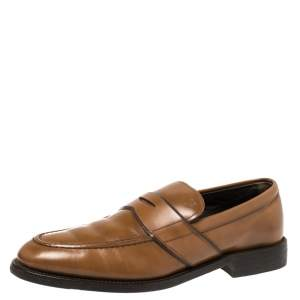 Tod's Tan Leather Penny Slip On Loafers Size 41