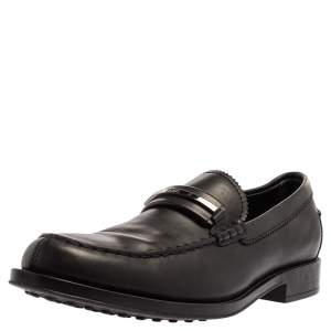 Tod's Black Leather Metal Bar Loafers Size 41.5