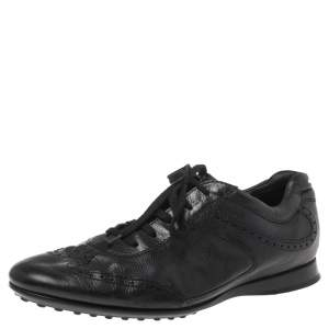 Tod's Black Brogue Leather Lace Low Top Sneakers Size 41.5