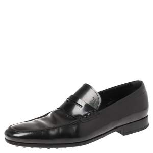 Tod's Black Leather Penny Slip On Loafers Size 42