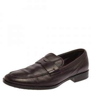 Tod's Dark Brown Leather Penny Loafers Size 40