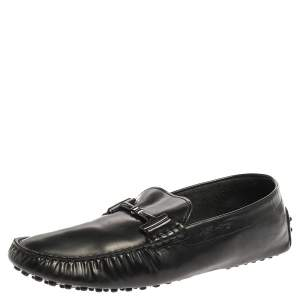 Tod's Black Leather Double T Slip On Loafers Size 44