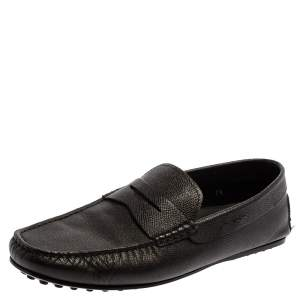 Tod's Black Grained Leather Penny Loafers Size 41.5