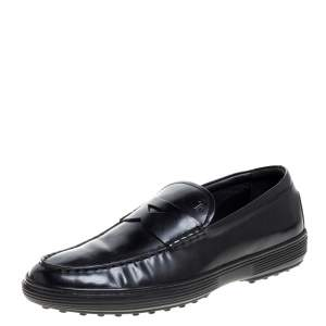 Tod's Black Patent Leather Penny Loafers Size 39.5