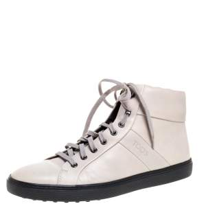 Tod's Light Beige Leather High Top Sneakers Size 42.5