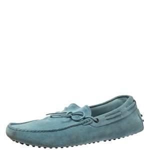 Tod's Light Blue Suede Bow Slip On  Loafers Size 44.5