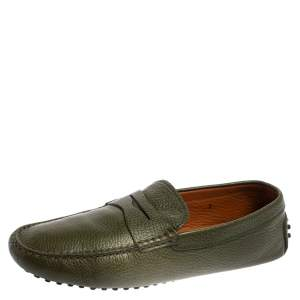 Tod's Military Green Leather Penny Slip On Loafers Size 42