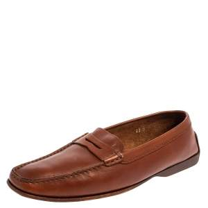 Tod's Brown Leather Penny Slip On Loafers Size 40.5