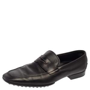 Tod's Black Leather Penny Slip On Loafers Size 44