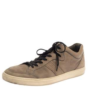 Tods Beige Nubuck Leather Low Top Sneakers Size 41.5