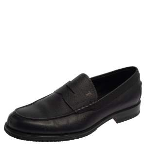 Tod's Navy Blue Leather Penny Slip On Loafers Size 42