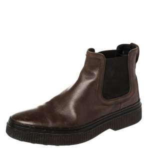 Tod's Brown Leather Slip On Ankle Boots Size 39.5