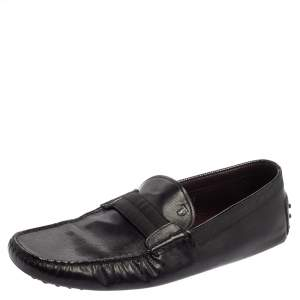 Tod's Black Leather And Fabric Loafers Size 47