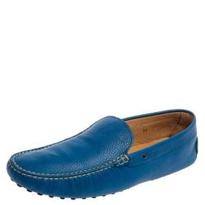 Tod's Blue Leather Loafers Size 45.5