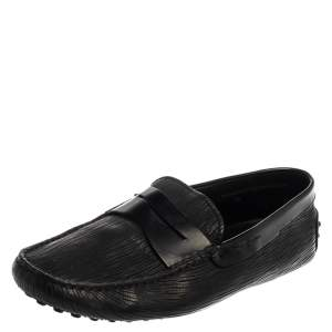 Tod's Black Textured Leather Penny Loafer Size 41.5
