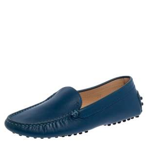 Tod's Blue Leather Slip On Loafers Size 35