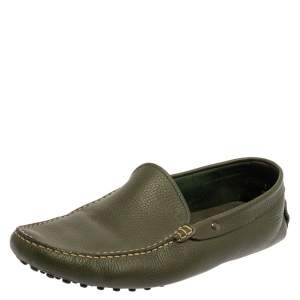 Tod's Green Leather Gommino Driving Loafers Size 45.5