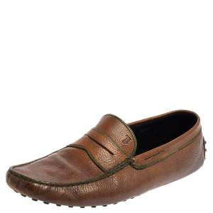 Tods Brown Leather Gommino Driving Slip On Loafer Size 45.5