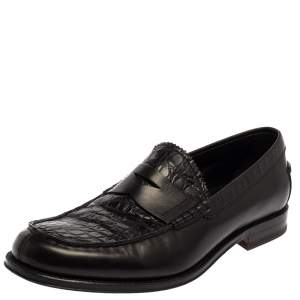 Tod's Black Croc Embossed And Leather Slip On Loafer Size 42