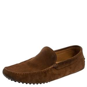 Tod's Brown Suede Gommino Slip On Loafers Size 45.5