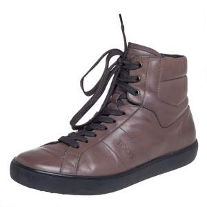 Tods Brown Leather Lace Up High Ankle Sneakers Size 42.5