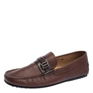Tod's Dark Brown Leather Buckle Loafers Size 44