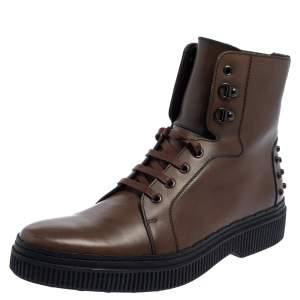حذاء بوت كاحل تودز جلد بني مقاس 44