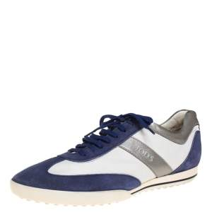 Tod's Blue/White Leather And Suede Low Top Sneakers Size 44