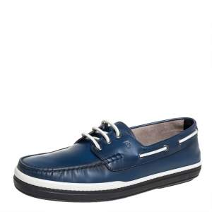 Tod's Blue Leather Lace Up Boat Shoes Size 44