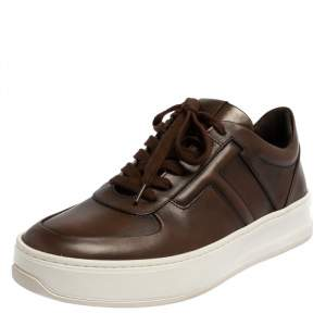 Tod's Dark Brown Leather T-Logo Low Top Sneakers Size 40